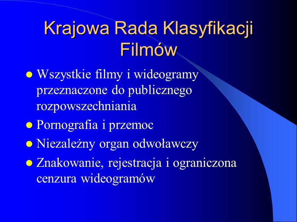 Krajowa Rada Klasyfikacji Filmów Wszystkie filmy i wideogramy przeznaczone do publicznego rozpowszechniania Pornografia i przemoc Niezależny organ odwoławczy Znakowanie, rejestracja i ograniczona cenzura wideogramów
