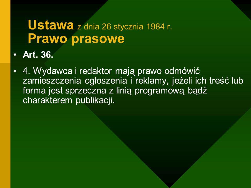 Ustawa z dnia 26 stycznia 1984 r. Prawo prasowe Art. 36. 4. Wydawca i redaktor mają prawo odmówić zamieszczenia ogłoszenia i reklamy, jeżeli ich treść