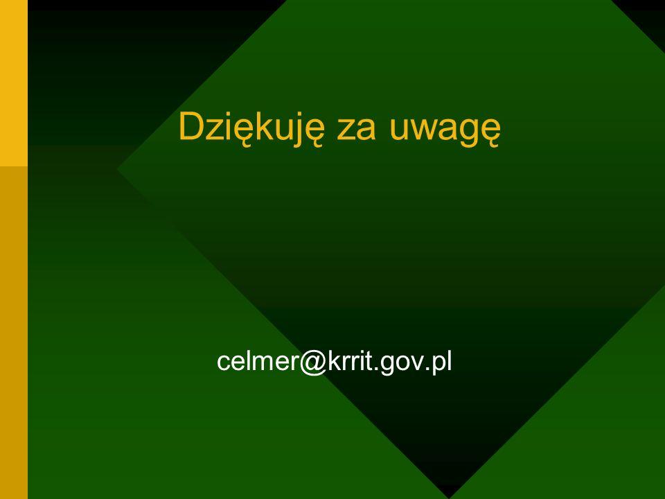 Dziękuję za uwagę celmer@krrit.gov.pl