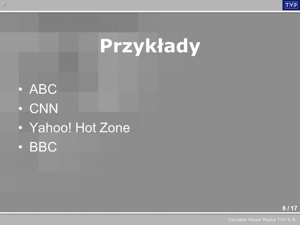 6 / 17 ABC CNN Yahoo! Hot Zone BBC Przykłady