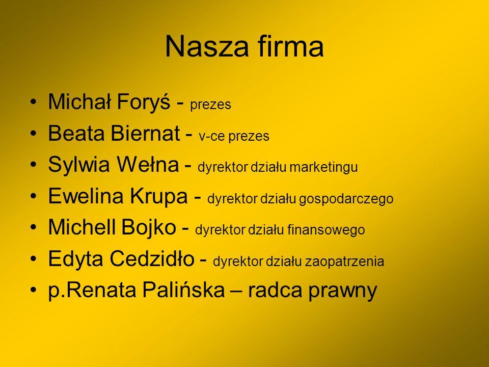 Nasza firma Michał Foryś - prezes Beata Biernat - v-ce prezes Sylwia Wełna - dyrektor działu marketingu Ewelina Krupa - dyrektor działu gospodarczego