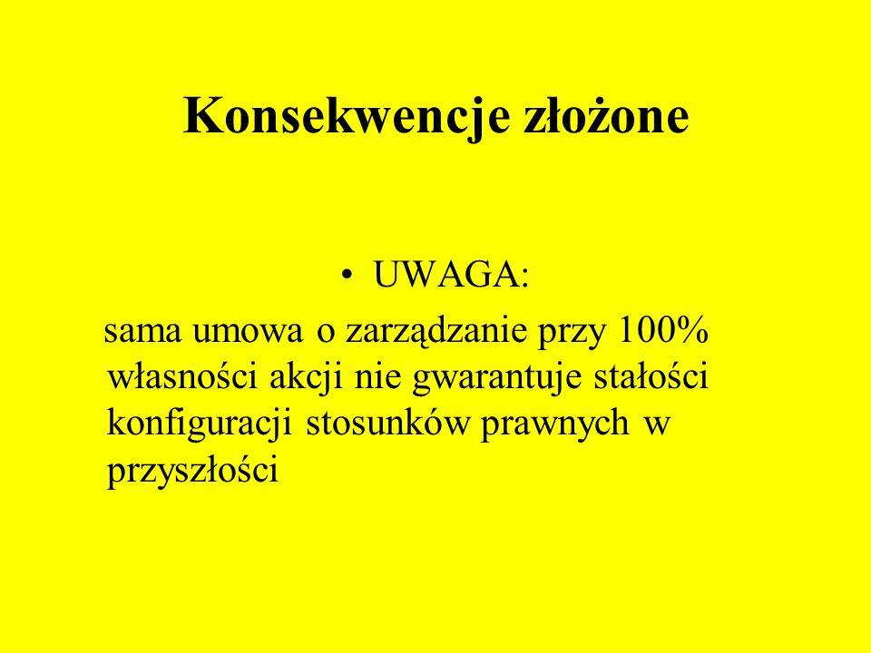 Konsekwencje złożone UWAGA: sama umowa o zarządzanie przy 100% własności akcji nie gwarantuje stałości konfiguracji stosunków prawnych w przyszłości