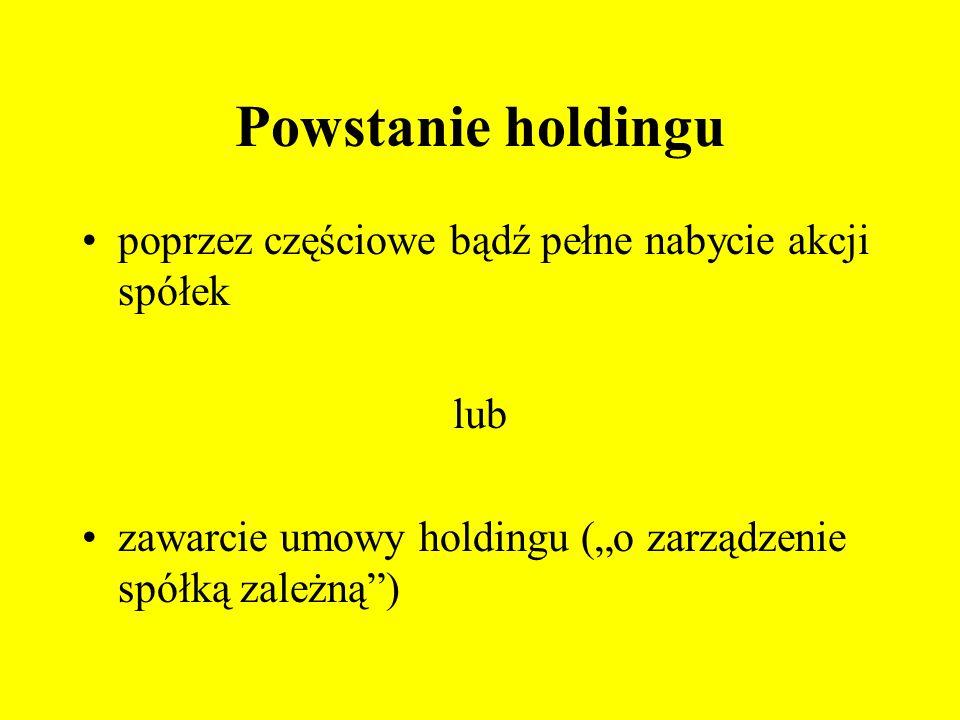 Powstanie holdingu poprzez częściowe bądź pełne nabycie akcji spółek lub zawarcie umowy holdingu (o zarządzenie spółką zależną)