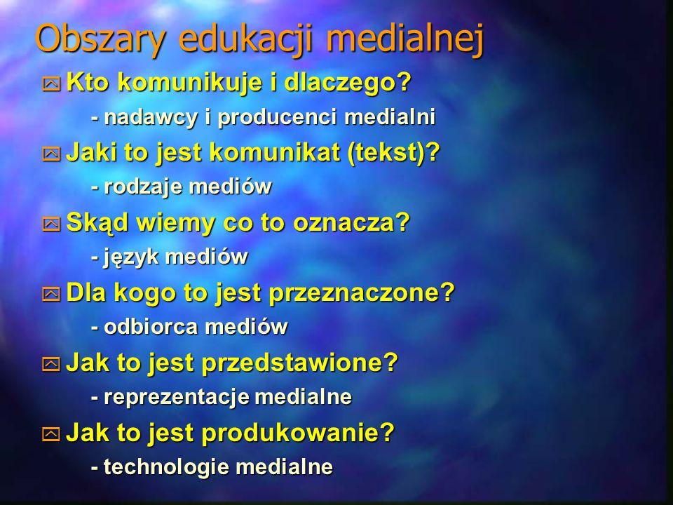 Obszary edukacji medialnej Kto komunikuje i dlaczego? Kto komunikuje i dlaczego? - nadawcy i producenci medialni - nadawcy i producenci medialni Jaki