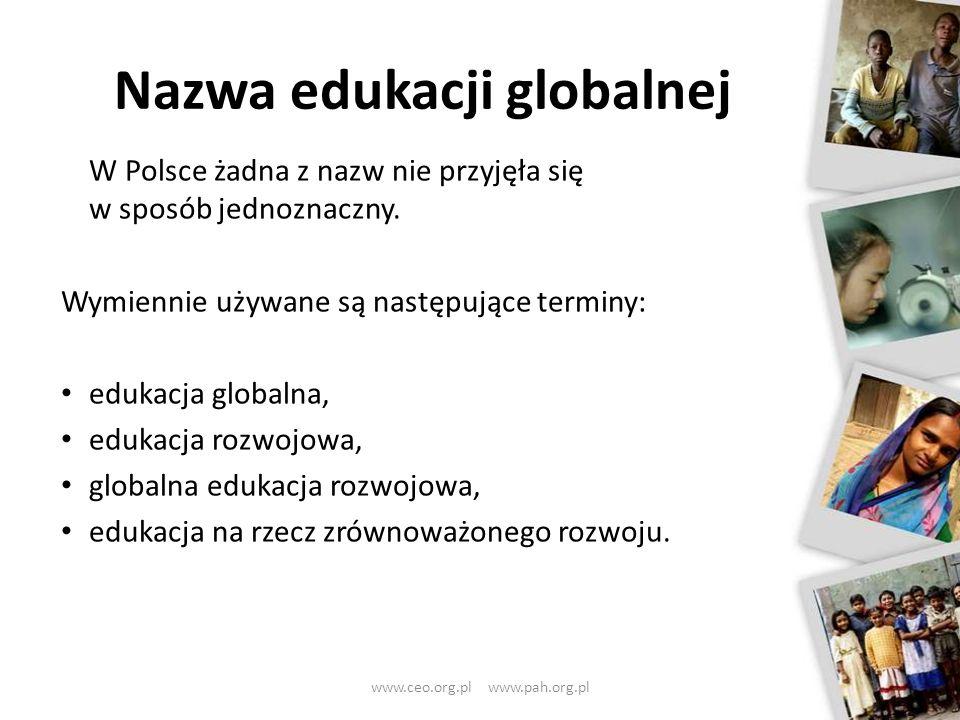 W Polsce żadna z nazw nie przyjęła się w sposób jednoznaczny. Wymiennie używane są następujące terminy: edukacja globalna, edukacja rozwojowa, globaln