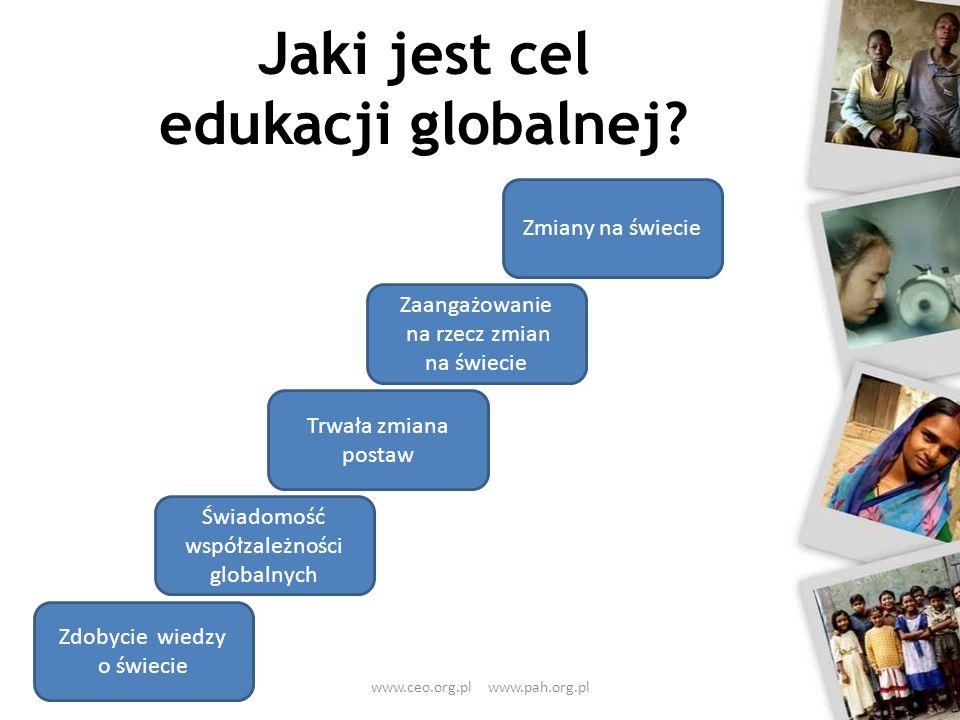 Jaki jest cel edukacji globalnej? Zdobycie wiedzy o świecie Świadomość współzależności globalnych Trwała zmiana postaw Zaangażowanie na rzecz zmian na