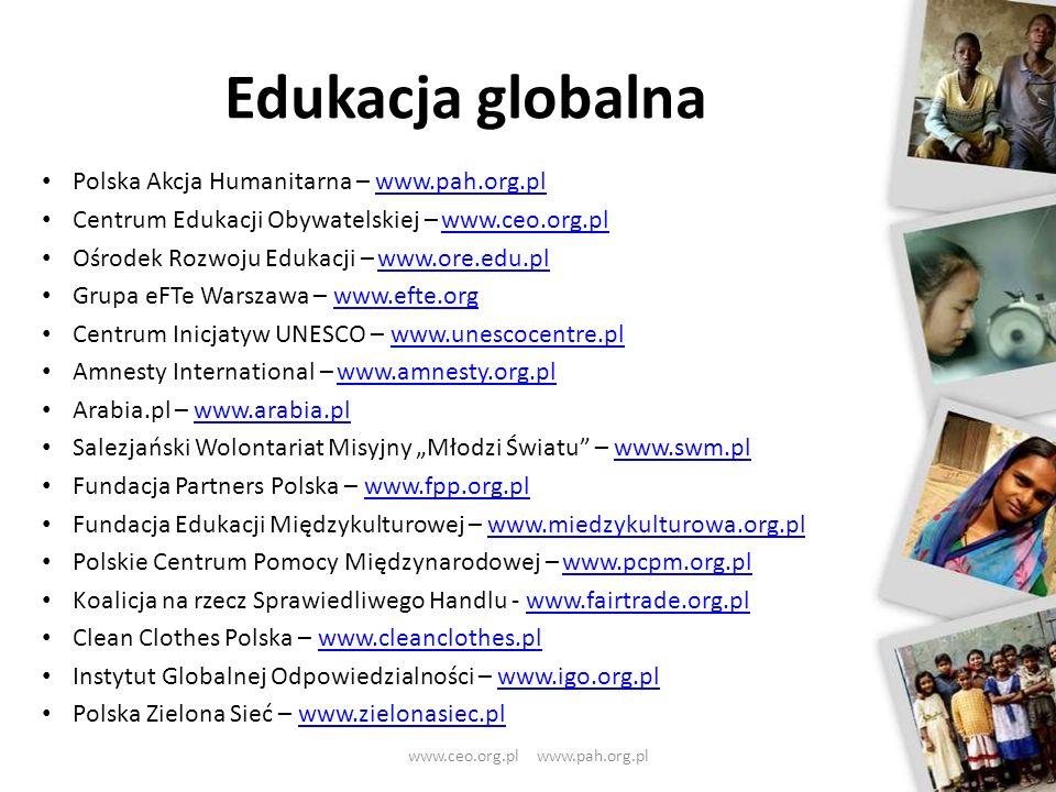 Polska Akcja Humanitarna – www.pah.org.plwww.pah.org.pl Centrum Edukacji Obywatelskiej – www.ceo.org.plwww.ceo.org.pl Ośrodek Rozwoju Edukacji – www.o