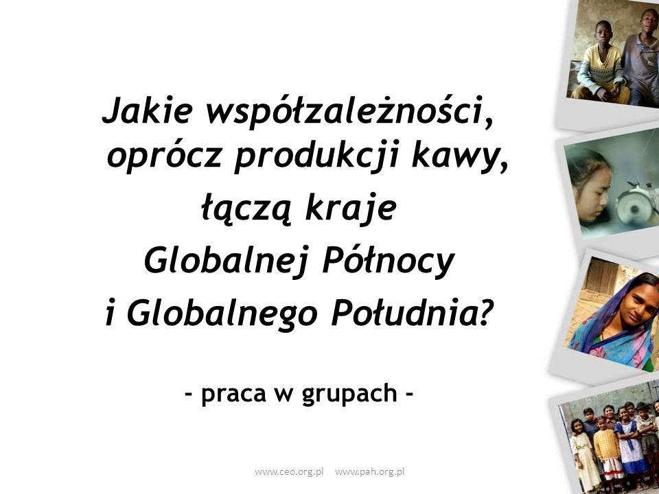 Jakie współzależności, oprócz produkcji kawy, łączą kraje Globalnej Północy i Globalnego Południa? - praca w grupach - www.ceo.org.pl www.pah.org.pl