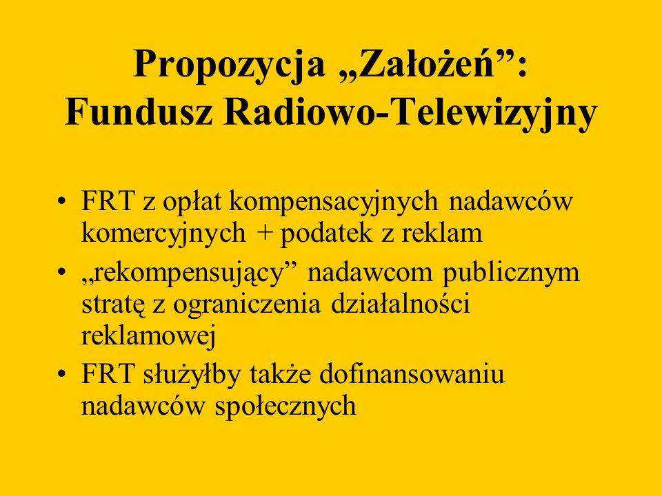 Propozycja Założeń: Fundusz Radiowo-Telewizyjny FRT z opłat kompensacyjnych nadawców komercyjnych + podatek z reklam rekompensujący nadawcom publicznym stratę z ograniczenia działalności reklamowej FRT służyłby także dofinansowaniu nadawców społecznych