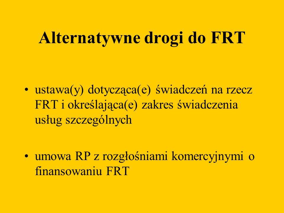 Alternatywne drogi do FRT ustawa(y) dotycząca(e) świadczeń na rzecz FRT i określająca(e) zakres świadczenia usług szczególnych umowa RP z rozgłośniami komercyjnymi o finansowaniu FRT