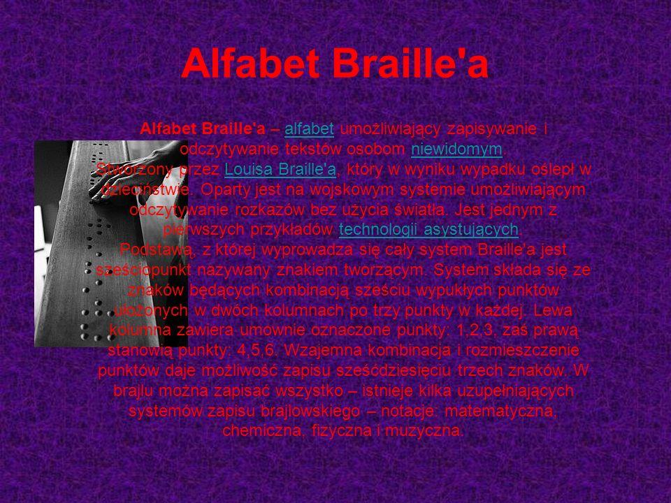 To alfabet, którym posługują się ludzie niedowidomi czyli Alfabet Braille'a