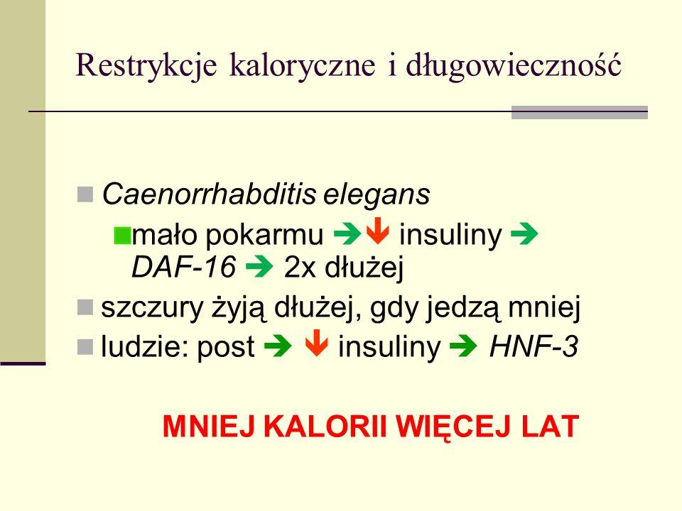 Restrykcje kaloryczne i długowieczność Caenorrhabditis elegans mało pokarmu insuliny DAF-16 2x dłużej szczury żyją dłużej, gdy jedzą mniej ludzie: pos