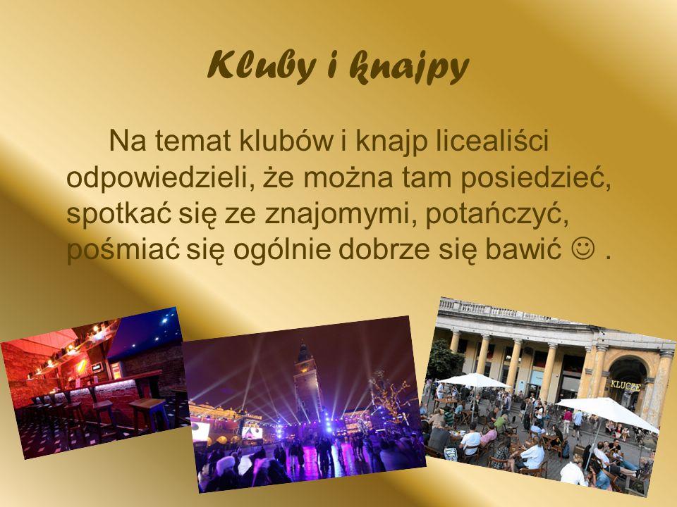 Kluby i knajpy Na temat klubów i knajp licealiści odpowiedzieli, że można tam posiedzieć, spotkać się ze znajomymi, potańczyć, pośmiać się ogólnie dob
