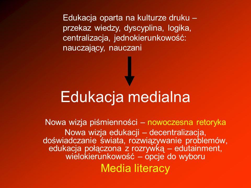 Edukacja medialna Nowa wizja piśmienności – nowoczesna retoryka Nowa wizja edukacji – decentralizacja, doświadczanie świata, rozwiązywanie problemów,