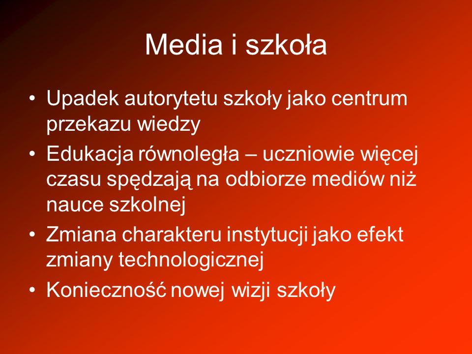 Media i szkoła Upadek autorytetu szkoły jako centrum przekazu wiedzy Edukacja równoległa – uczniowie więcej czasu spędzają na odbiorze mediów niż nauc