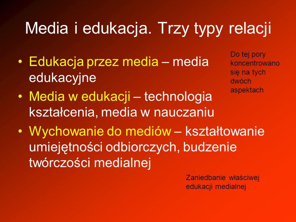 Media i edukacja. Trzy typy relacji Edukacja przez media – media edukacyjne Media w edukacji – technologia kształcenia, media w nauczaniu Wychowanie d