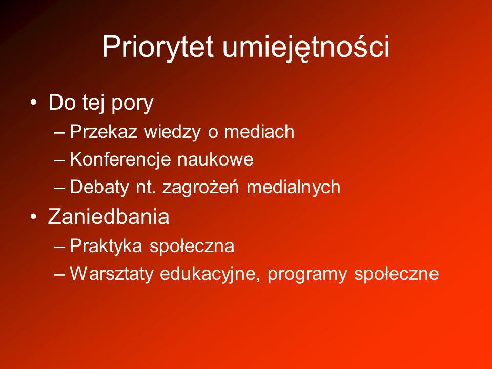 Priorytet umiejętności Do tej pory –Przekaz wiedzy o mediach –Konferencje naukowe –Debaty nt. zagrożeń medialnych Zaniedbania –Praktyka społeczna –War