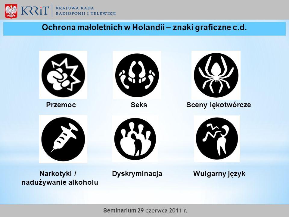 Narkotyki / Dyskryminacja Wulgarny język nadużywanie alkoholu Przemoc Seks Sceny lękotwórcze Ochrona małoletnich w Holandii – znaki graficzne c.d. Sem