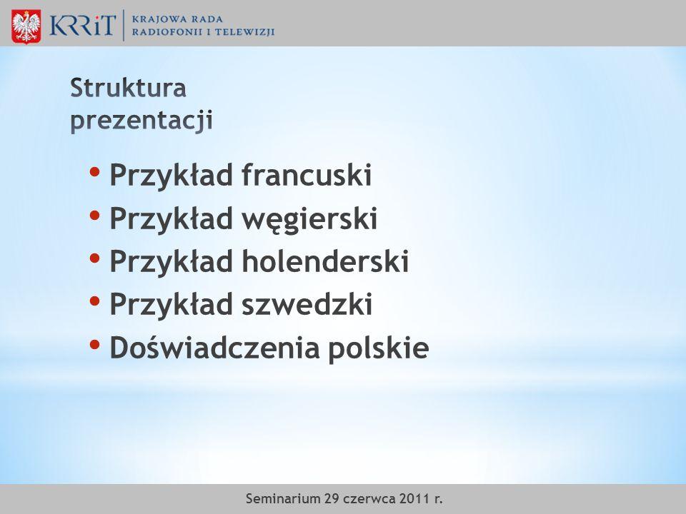 Przykład francuski Przykład węgierski Przykład holenderski Przykład szwedzki Doświadczenia polskie Seminarium 29 czerwca 2011 r.