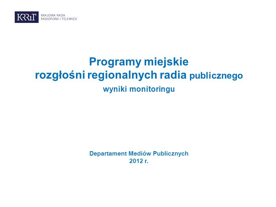 Programy miejskie rozgłośni regionalnych radia publicznego wyniki monitoringu Departament Mediów Publicznych 2012 r.