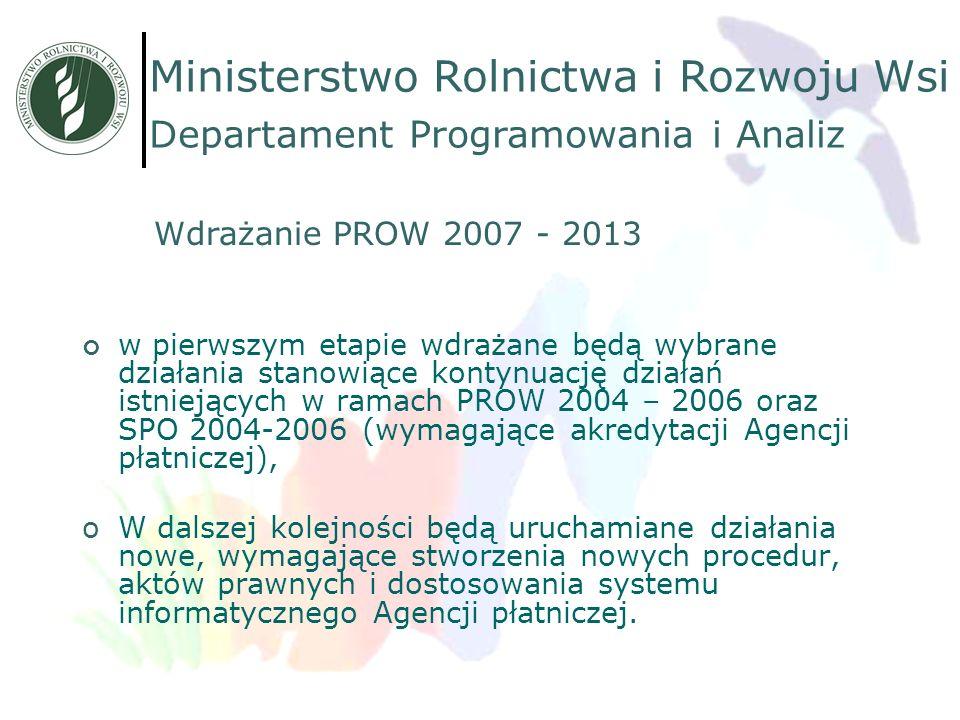 w pierwszym etapie wdrażane będą wybrane działania stanowiące kontynuację działań istniejących w ramach PROW 2004 – 2006 oraz SPO 2004-2006 (wymagając