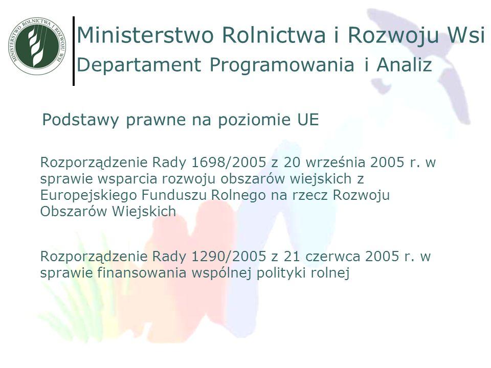 Podstawy prawne na poziomie UE Rozporządzenie Rady 1698/2005 z 20 września 2005 r. w sprawie wsparcia rozwoju obszarów wiejskich z Europejskiego Fundu