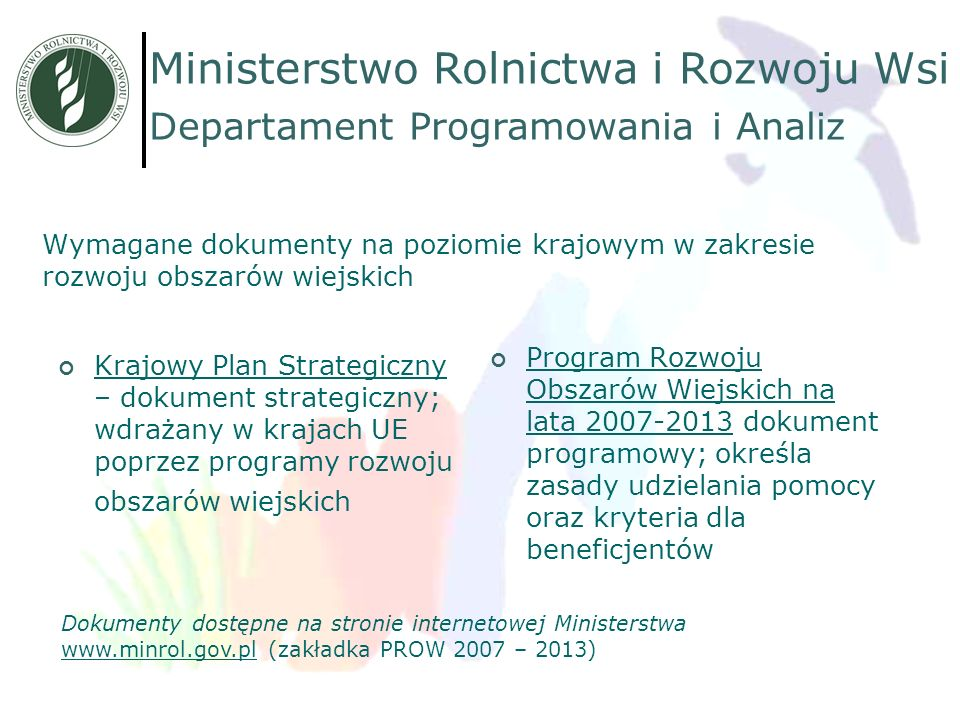 Wymagane dokumenty na poziomie krajowym w zakresie rozwoju obszarów wiejskich Krajowy Plan Strategiczny – dokument strategiczny; wdrażany w krajach UE