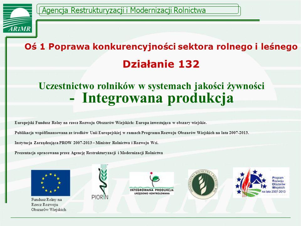 Agencja Restrukturyzacji i Modernizacji Rolnictwa ZASADY PRZYZNAWANIA POMOCY I PŁATNOŚCI INTEGROWANA PRODUKCJA Uczestnictwo rolników w systemach jakości żywności