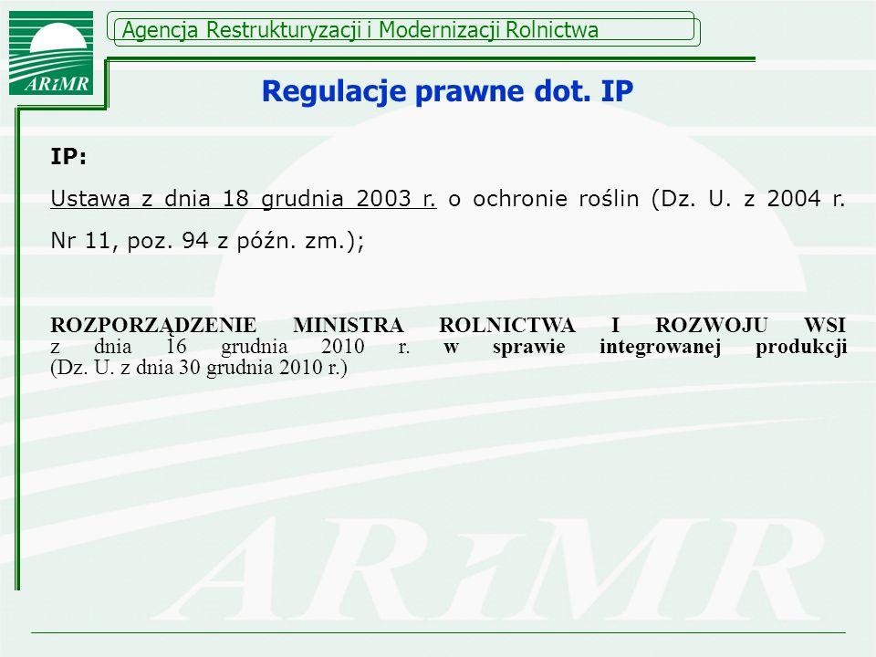 Agencja Restrukturyzacji i Modernizacji Rolnictwa Regulacje prawne dot. IP IP: Ustawa z dnia 18 grudnia 2003 r. o ochronie roślin (Dz. U. z 2004 r. Nr