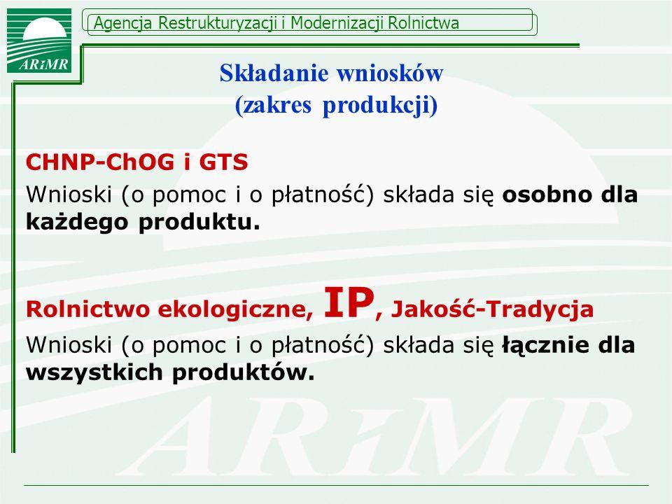 Agencja Restrukturyzacji i Modernizacji Rolnictwa CHNP-ChOG i GTS Wnioski (o pomoc i o płatność) składa się osobno dla każdego produktu. Rolnictwo eko
