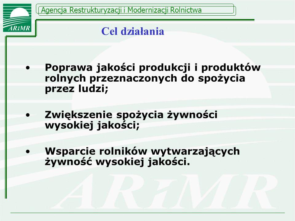 Agencja Restrukturyzacji i Modernizacji Rolnictwa Poprawa jakości produkcji i produktów rolnych przeznaczonych do spożycia przez ludzi; Zwiększenie sp