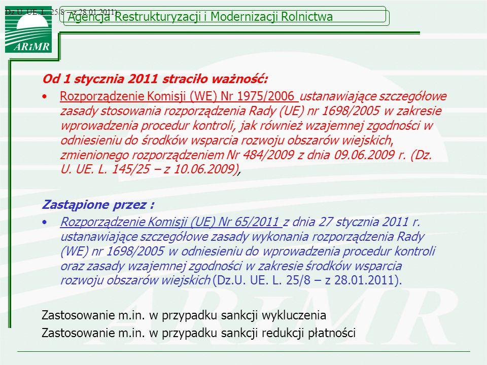 Od 1 stycznia 2011 straciło ważność: Rozporządzenie Komisji (WE) Nr 1975/2006 ustanawiające szczegółowe zasady stosowania rozporządzenia Rady (UE) nr