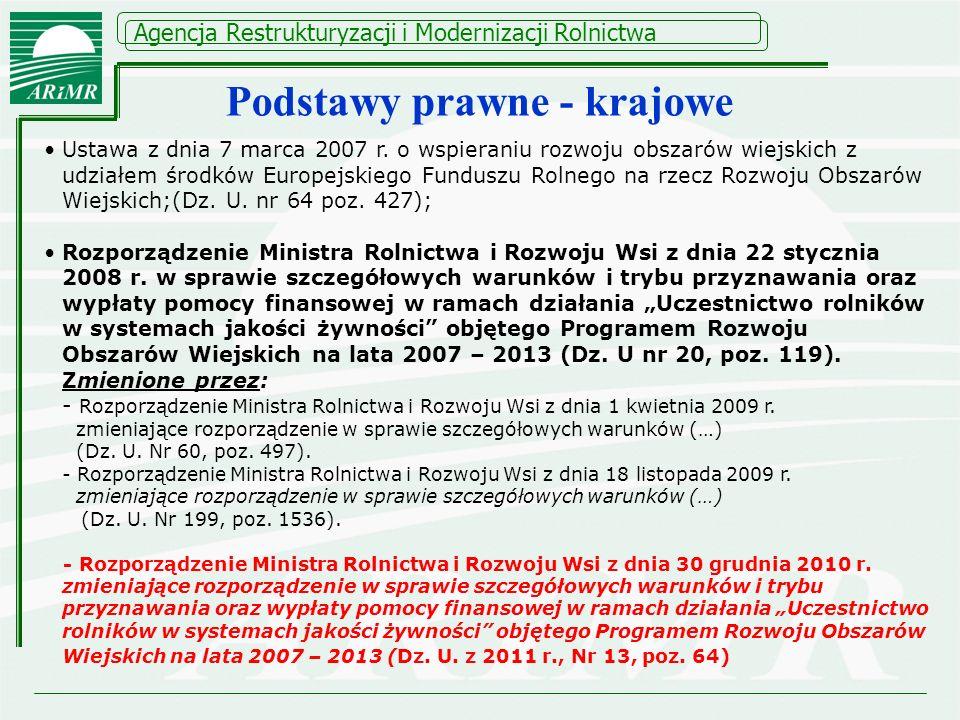 Agencja Restrukturyzacji i Modernizacji Rolnictwa Ustawa z dnia 7 marca 2007 r. o wspieraniu rozwoju obszarów wiejskich z udziałem środków Europejskie