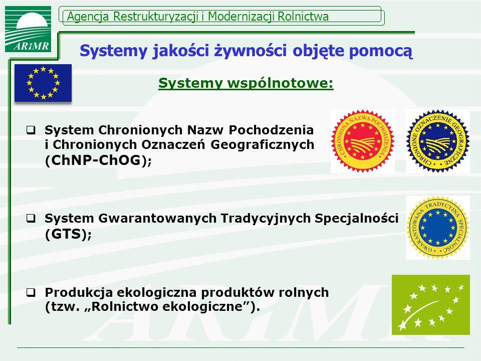 Agencja Restrukturyzacji i Modernizacji Rolnictwa Systemy krajowe: Produkcja integrowana ( IP ); Jakość-Tradycja Inne uznane systemy krajowe.