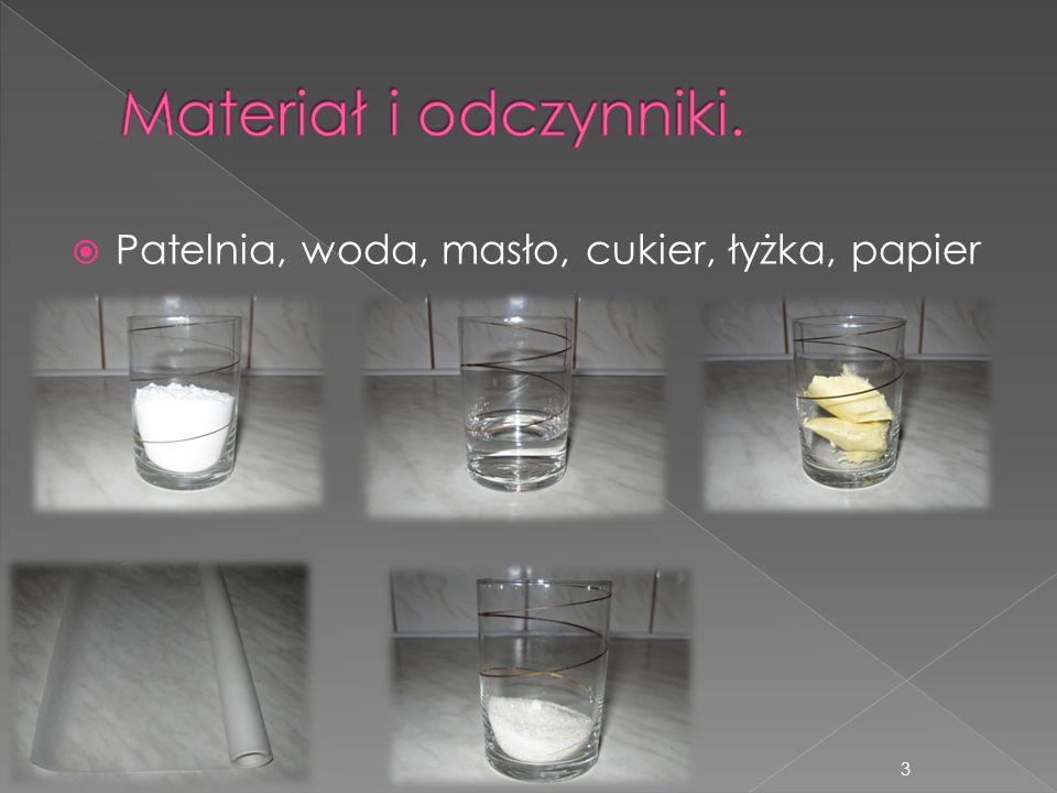Patelnia, woda, masło, cukier, łyżka, papier 3