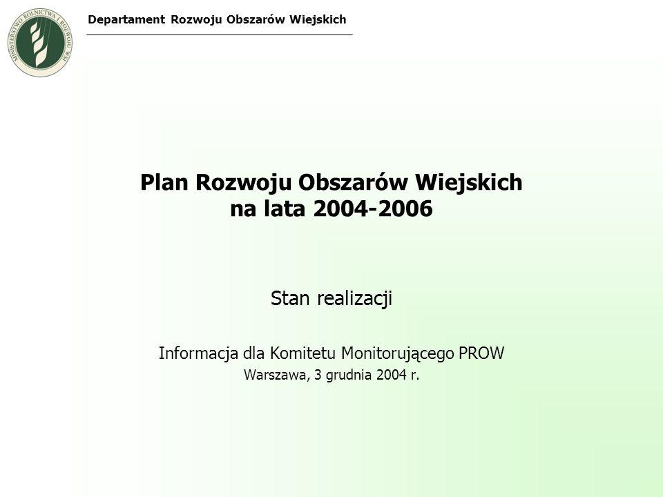 Wdrażanie PROW Decyzja Komisji Europejskiej zatwierdzająca PROW z 6 września 2004 r.