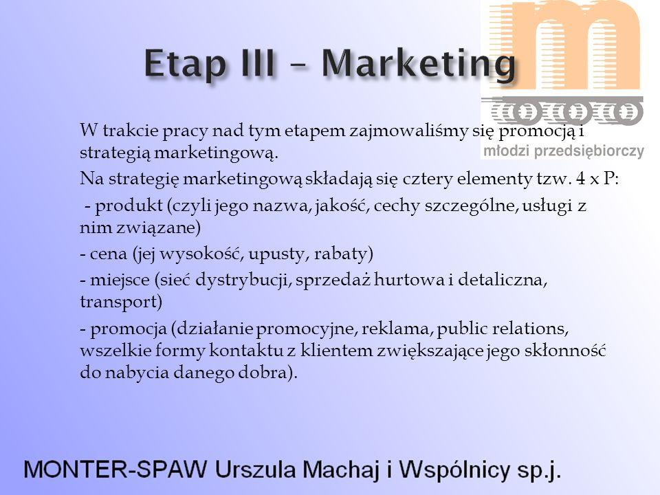 W trakcie pracy nad tym etapem zajmowaliśmy się promocją i strategią marketingową. Na strategię marketingową składają się cztery elementy tzw. 4 x P: