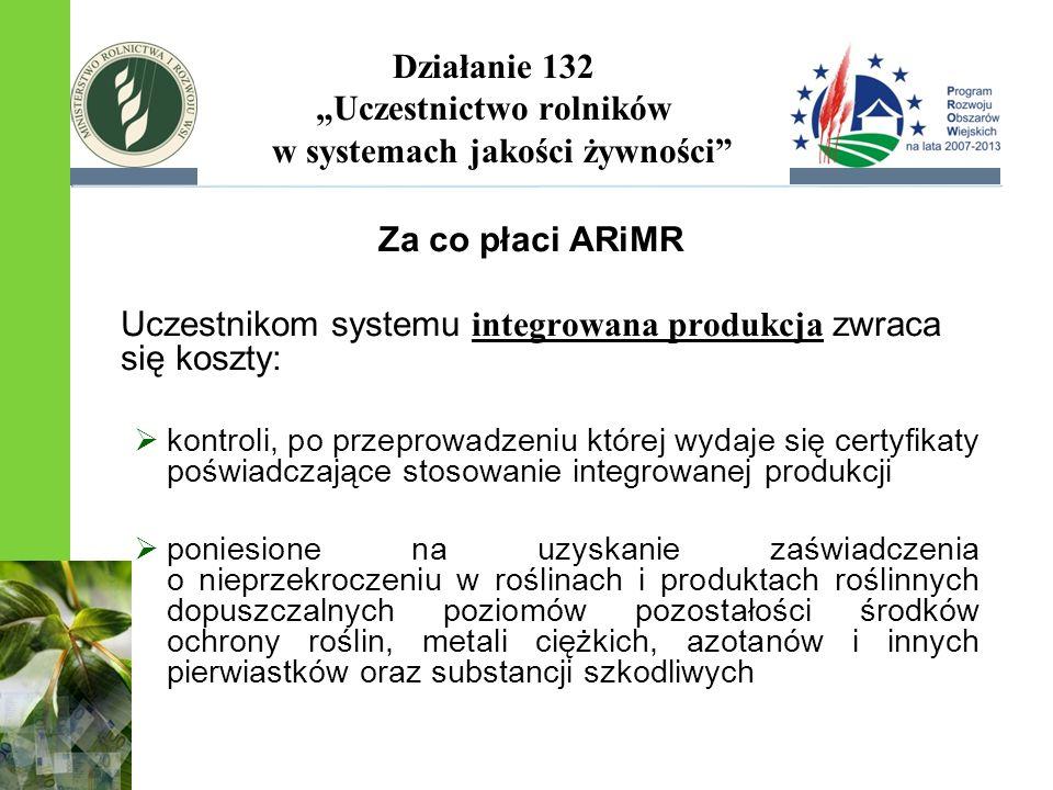 Działanie 132 Uczestnictwo rolników w systemach jakości żywności Za co płaci ARiMR Uczestnikom systemu integrowana produkcja zwraca się koszty: kontro
