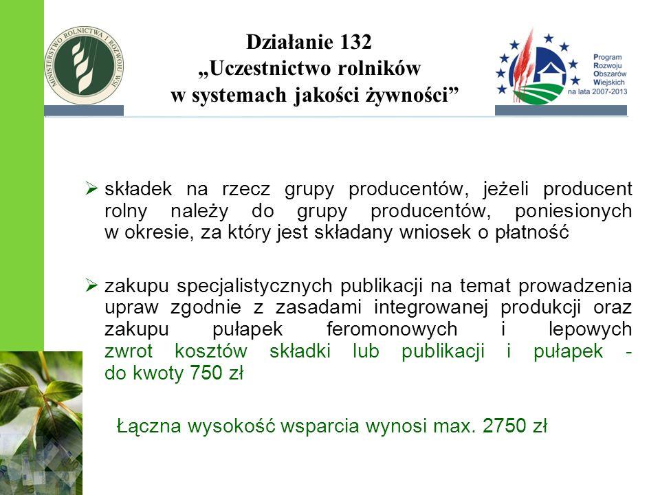 Działanie 132 Uczestnictwo rolników w systemach jakości żywności składek na rzecz grupy producentów, jeżeli producent rolny należy do grupy producentó