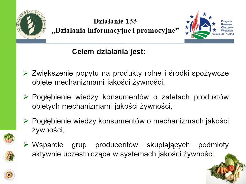 Działanie 133 Działania informacyjne i promocyjne Celem działania jest: Zwiększenie popytu na produkty rolne i środki spożywcze objęte mechanizmami jakości żywności, Pogłębienie wiedzy konsumentów o zaletach produktów objętych mechanizmami jakości żywności, Pogłębienie wiedzy konsumentów o mechanizmach jakości żywności, Wsparcie grup producentów skupiających podmioty aktywnie uczestniczące w systemach jakości żywności.