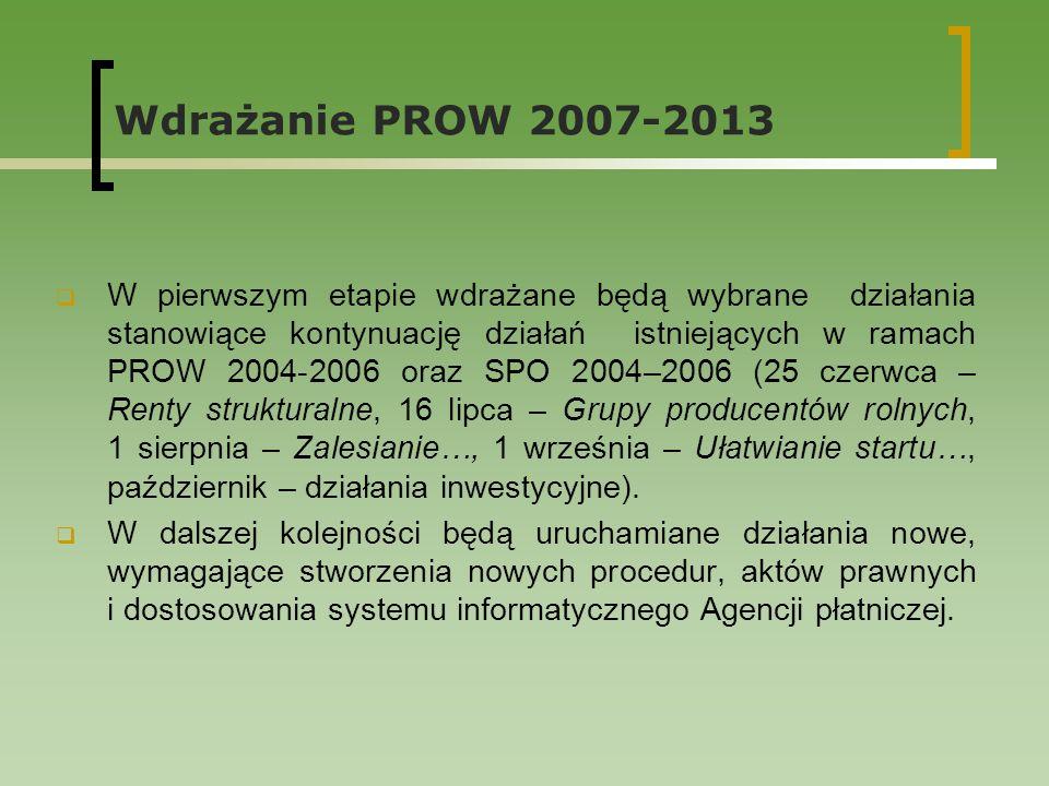 Wdrażanie PROW 2007-2013 W pierwszym etapie wdrażane będą wybrane działania stanowiące kontynuację działań istniejących w ramach PROW 2004-2006 oraz SPO 2004–2006 (25 czerwca – Renty strukturalne, 16 lipca – Grupy producentów rolnych, 1 sierpnia – Zalesianie…, 1 września – Ułatwianie startu…, październik – działania inwestycyjne).