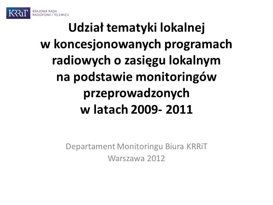 Udział tematyki lokalnej w koncesjonowanych programach radiowych o zasięgu lokalnym na podstawie monitoringów przeprowadzonych w latach 2009- 2011 Departament Monitoringu Biura KRRiT Warszawa 2012