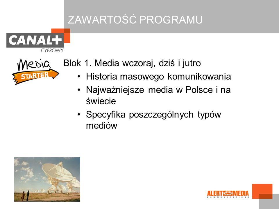 Blok 1. Media wczoraj, dziś i jutro Historia masowego komunikowania Najważniejsze media w Polsce i na świecie Specyfika poszczególnych typów mediów ZA