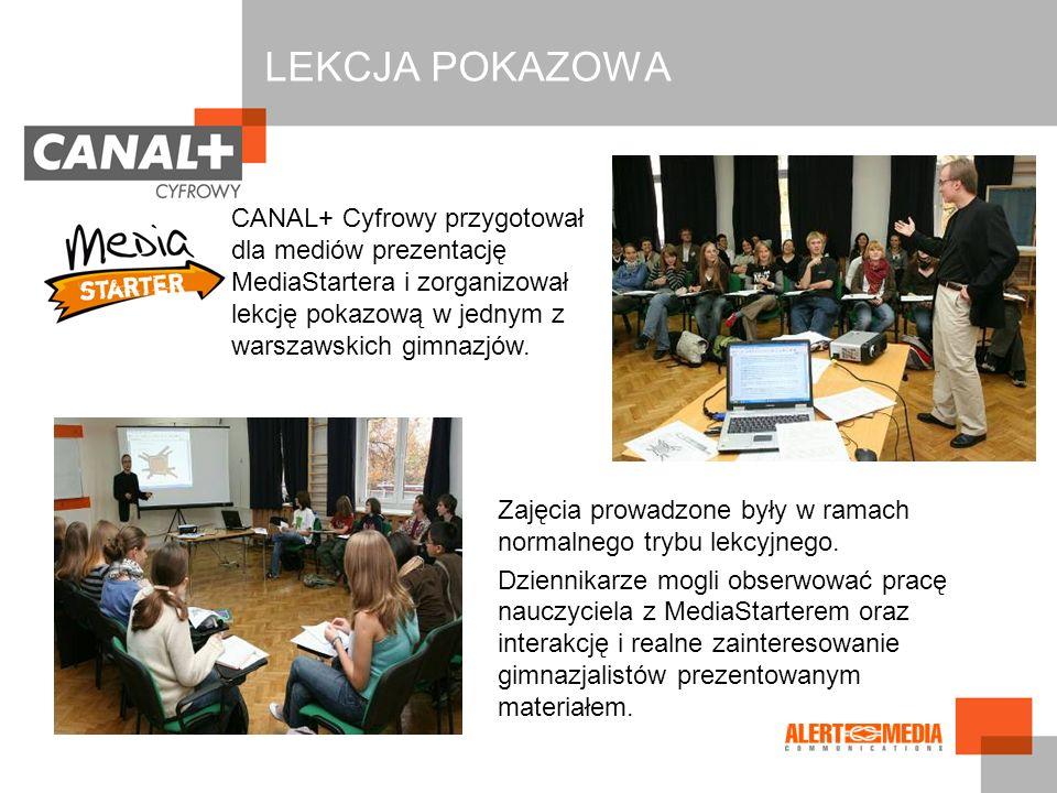 CANAL+ Cyfrowy przygotował dla mediów prezentację MediaStartera i zorganizował lekcję pokazową w jednym z warszawskich gimnazjów. Zajęcia prowadzone b
