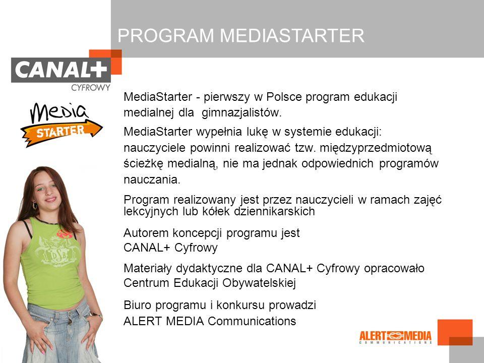 MediaStarter - pierwszy w Polsce program edukacji medialnej dla gimnazjalistów. MediaStarter wypełnia lukę w systemie edukacji: nauczyciele powinni re