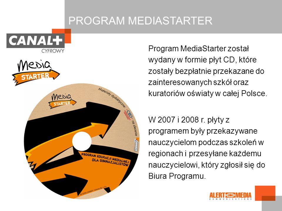 Program MediaStarter został wydany w formie płyt CD, które zostały bezpłatnie przekazane do zainteresowanych szkół oraz kuratoriów oświaty w całej Pol