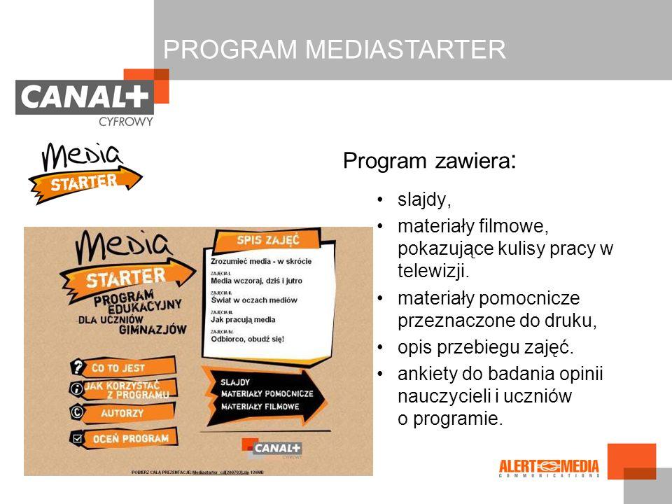 Program zawiera : slajdy, materiały filmowe, pokazujące kulisy pracy w telewizji. materiały pomocnicze przeznaczone do druku, opis przebiegu zajęć. an