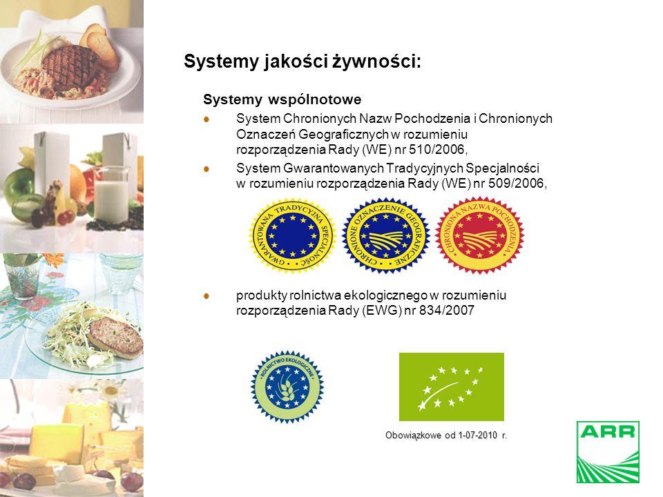 Systemy jakości żywności: Systemy wspólnotowe System Chronionych Nazw Pochodzenia i Chronionych Oznaczeń Geograficznych w rozumieniu rozporządzenia Rady (WE) nr 510/2006, System Gwarantowanych Tradycyjnych Specjalności w rozumieniu rozporządzenia Rady (WE) nr 509/2006, produkty rolnictwa ekologicznego w rozumieniu rozporządzenia Rady (EWG) nr 834/2007 Obowiązkowe od 1-07-2010 r.