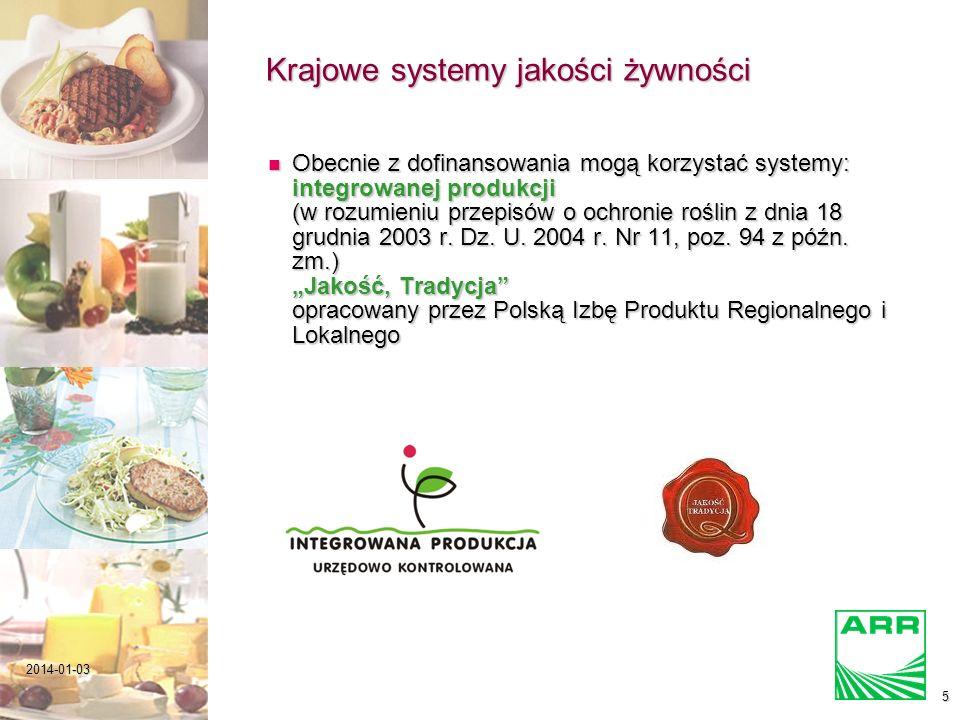 2014-01-035 Krajowe systemy jakości żywności Obecnie z dofinansowania mogą korzystać systemy: integrowanej produkcji (w rozumieniu przepisów o ochronie roślin z dnia 18 grudnia 2003 r.