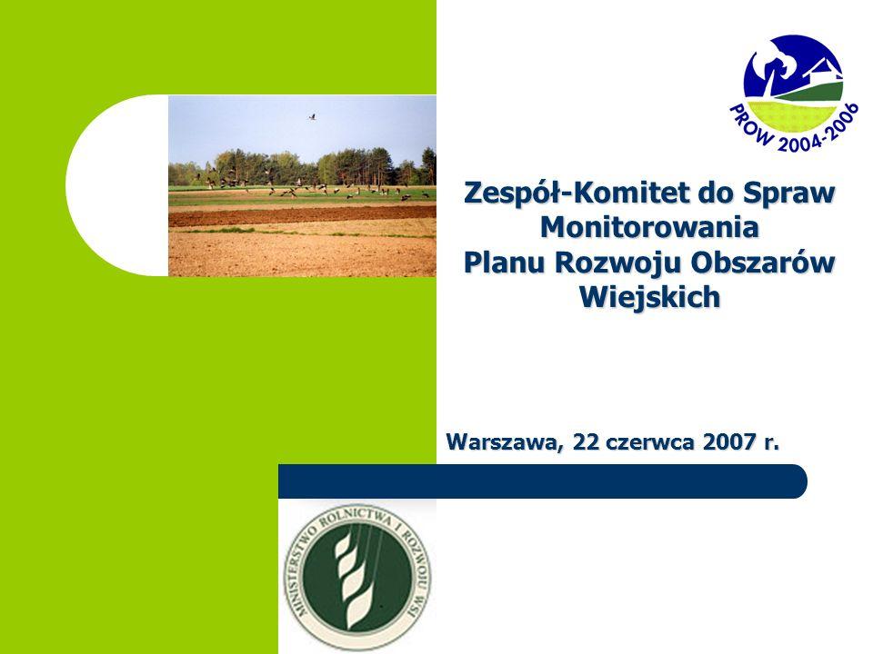 Zespół-Komitet do Spraw Monitorowania Planu Rozwoju Obszarów Wiejskich Warszawa, 22 czerwca 2007 r.